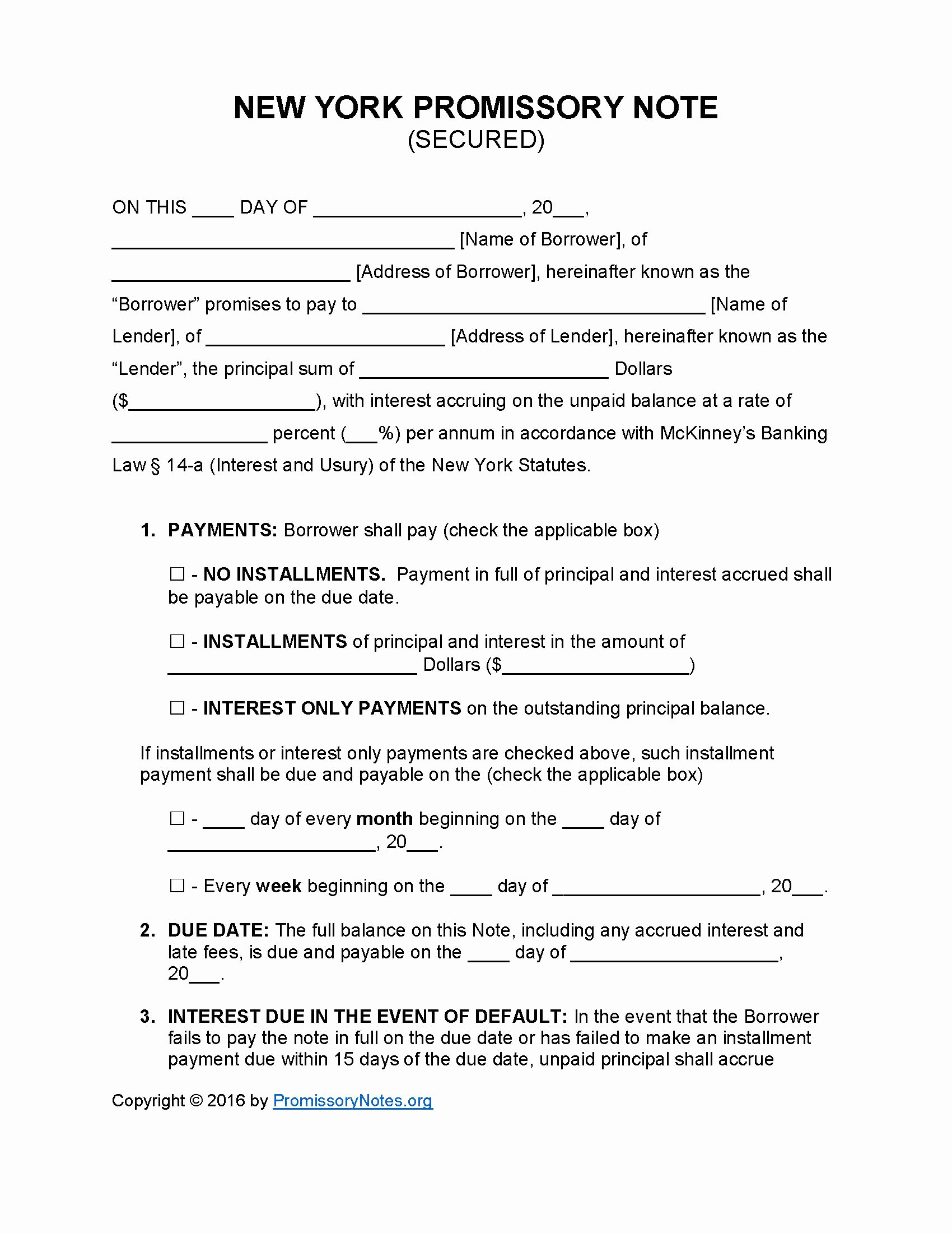 Secured Promissory Note Template Pdf Elegant New York Secured Promissory Note Template Promissory