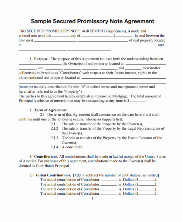 Secured Promissory Note Template Pdf Inspirational 28 Of Typical Promissory Note Template
