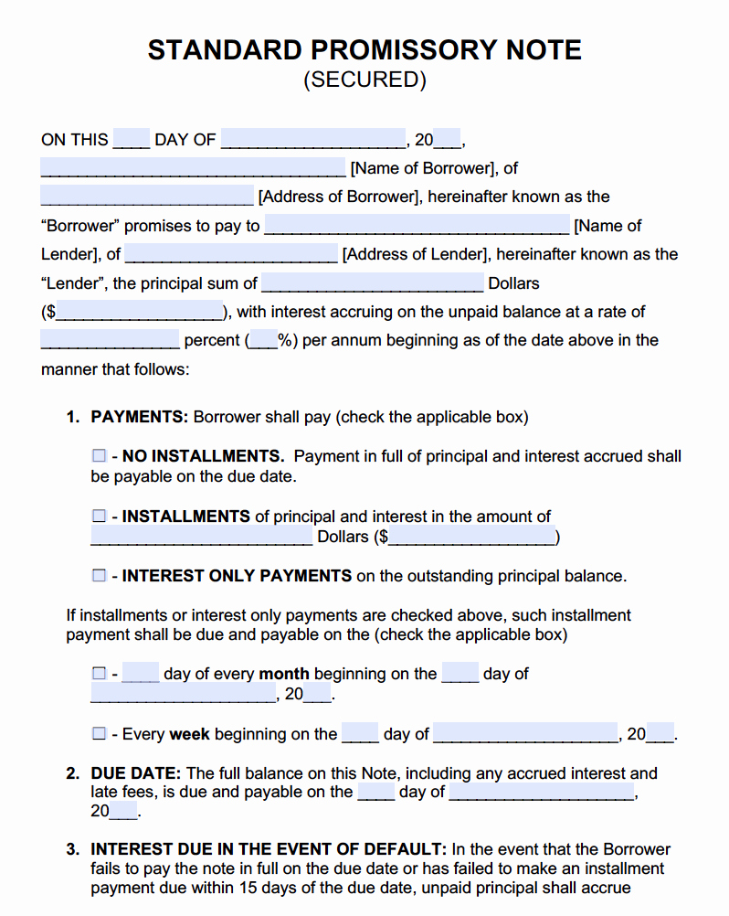 Secured Promissory Note Template Pdf New Secured Promissory Note Templates Promissory Notes