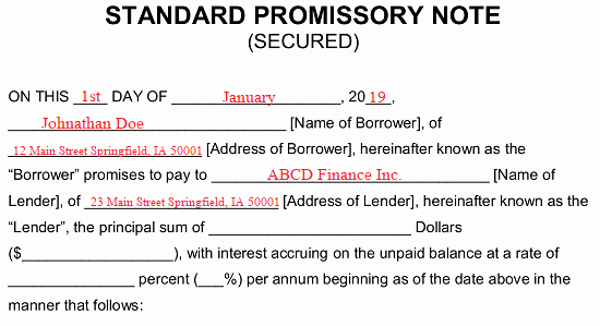 Secured Promissory Note Template Word Beautiful Free Secured Promissory Note Template Word