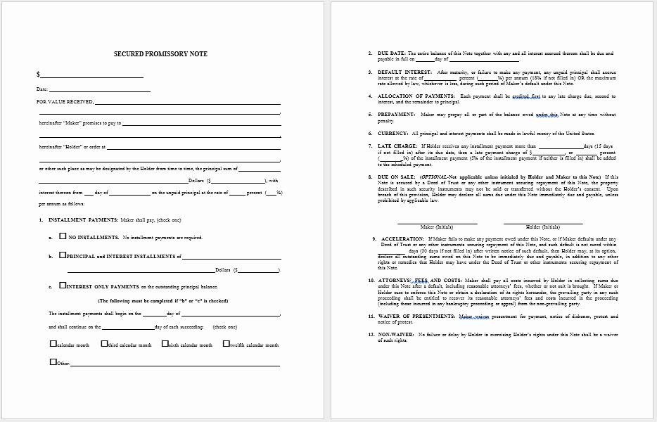 Secured Promissory Note Template Word Elegant 43 Free Promissory Note Samples & Templates Ms Word and