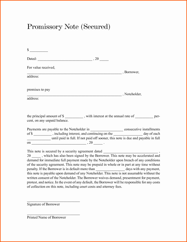 Secured Promissory Note Template Word Lovely Blank Promissory Note Free Download Aashe