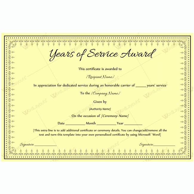 Service Award Certificate Template Beautiful Best Years Service Award Certificate Award