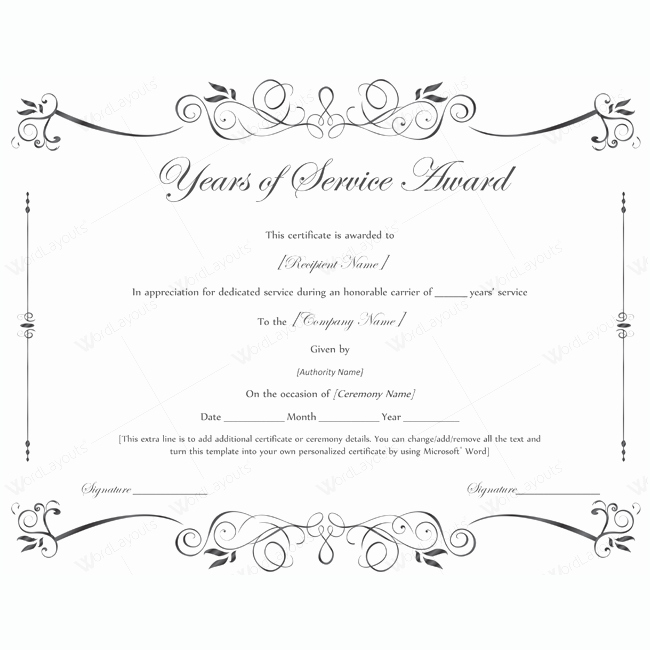 Service Award Certificate Template Beautiful Years Of Service Award 02