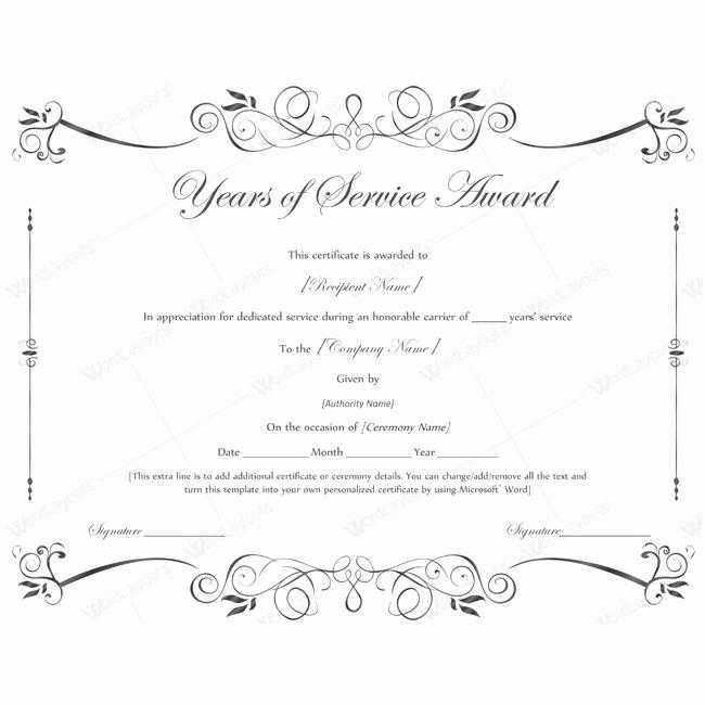 Service Award Certificate Template Beautiful Years Of Service Award 02