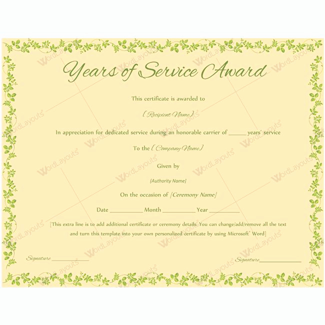 Service Award Certificate Template Elegant 13 Best Years Of Service Award Images On Pinterest