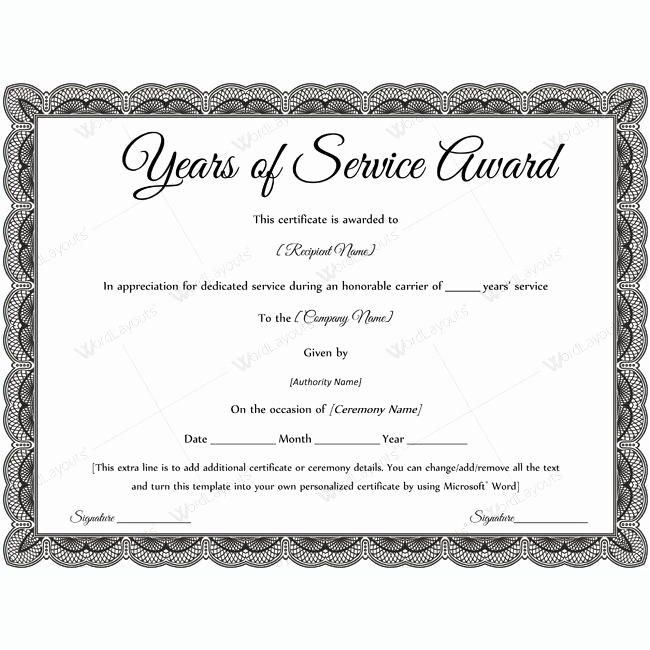 Service Award Certificate Template Elegant Sample Years Service Award Awardcertificate