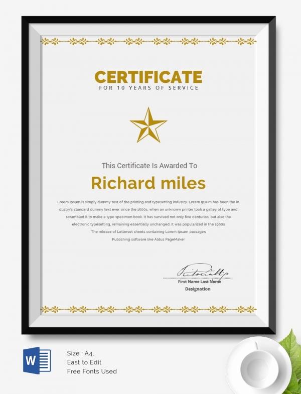 Service Award Certificate Template Inspirational 25 Certificate Templates