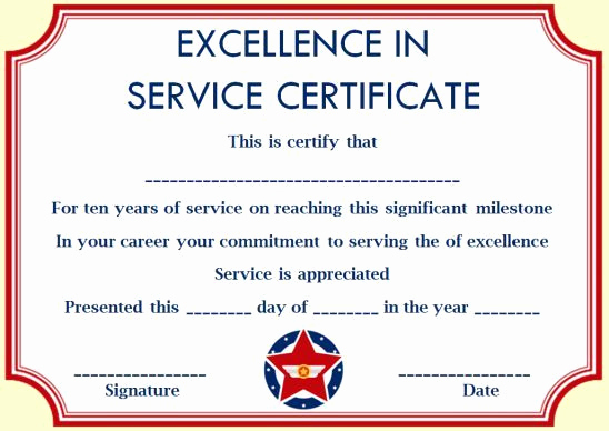 Service Award Certificate Template Lovely 10 Years Service Award Certificate 10 Templates to Honor
