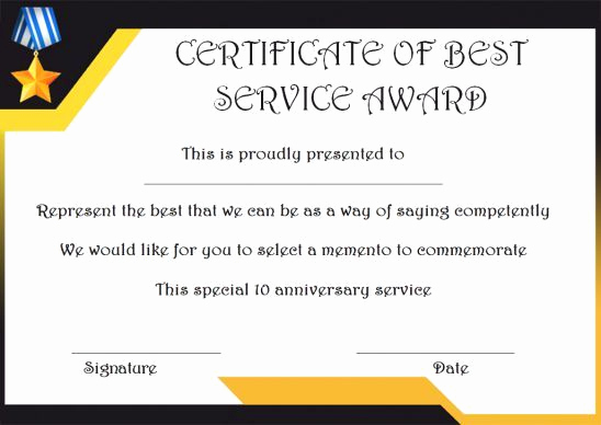 Service Award Certificate Template Lovely 10 Years Service Award Certificate 10 Templates to Honor