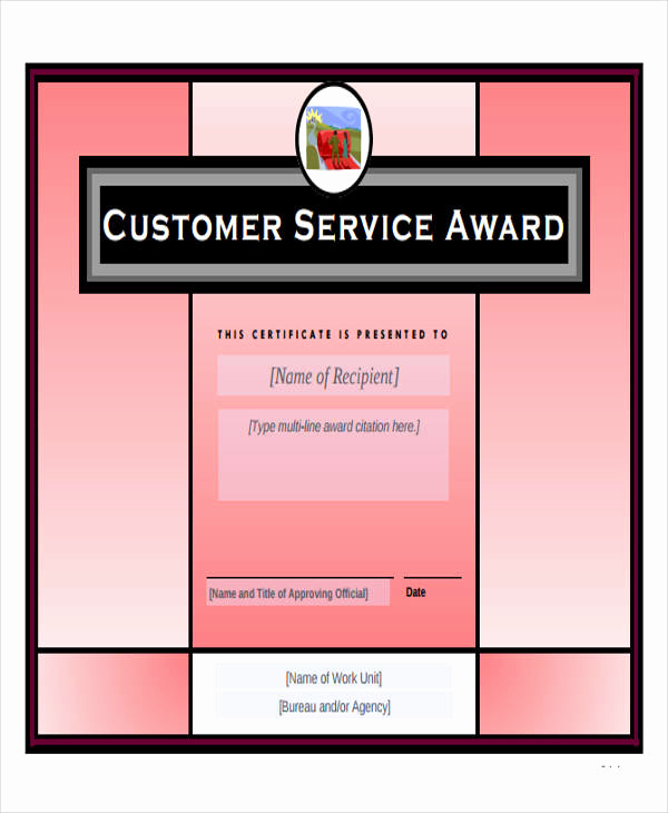 Service Award Certificate Template Luxury Free 43 Printable Award Certificates In Ms Word