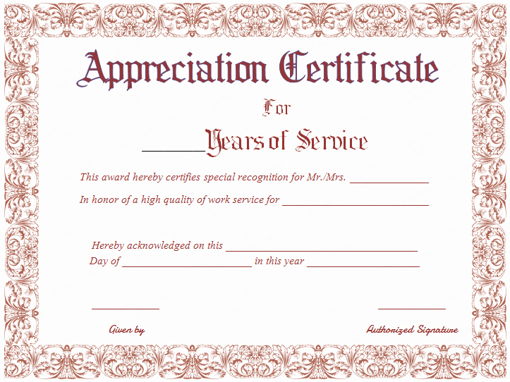 Service Award Certificate Template Luxury Free Printable Appreciation Certificate for Years Of Service