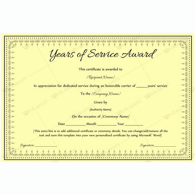 Service Award Certificate Template New Years Of Service Award 08