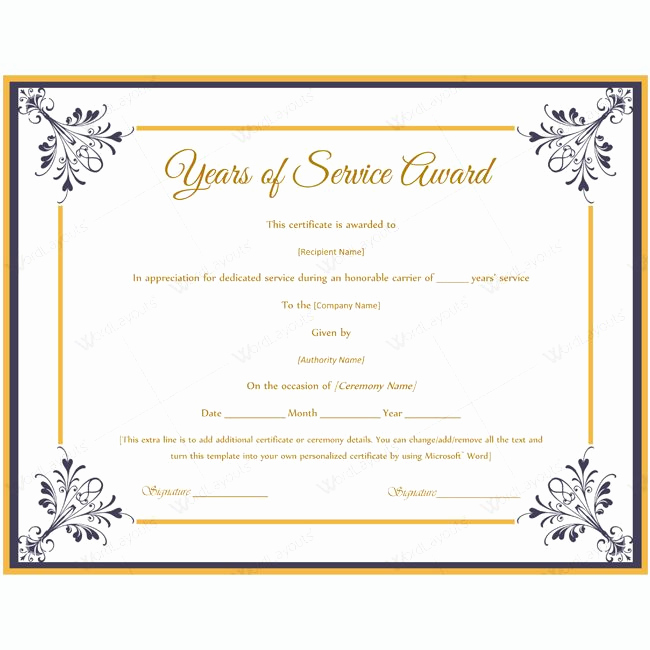 Service Awards Certificates Template Awesome Certificate Templates
