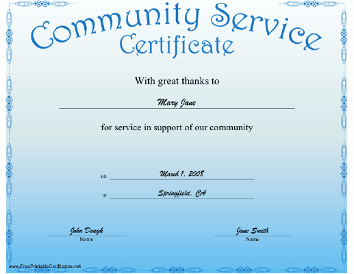 Service Awards Certificates Template Best Of A Blue Certificate Recognizing Munity Service Free to