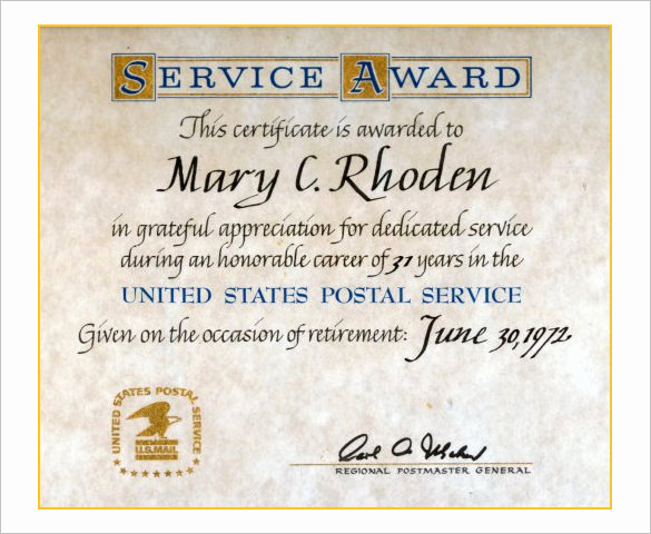 Service Awards Certificates Template Elegant Long Service Certificate Template – Printable Birthday