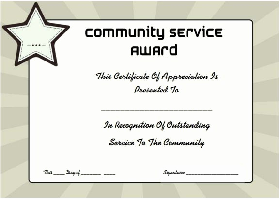 Service Awards Certificates Template Fresh Munity Service Certificate Of Appreciation