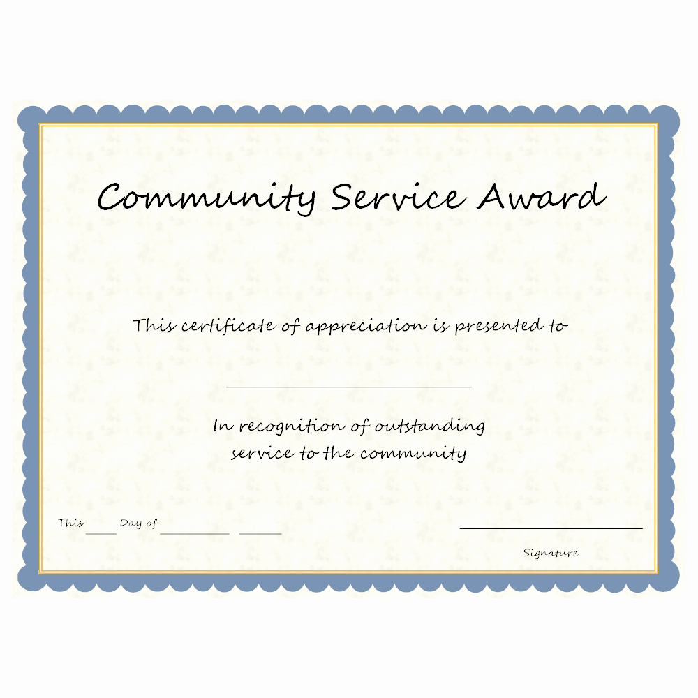 Service Awards Certificates Template Lovely Munity Service Award Doc Pdf Cummunity Service Certificate