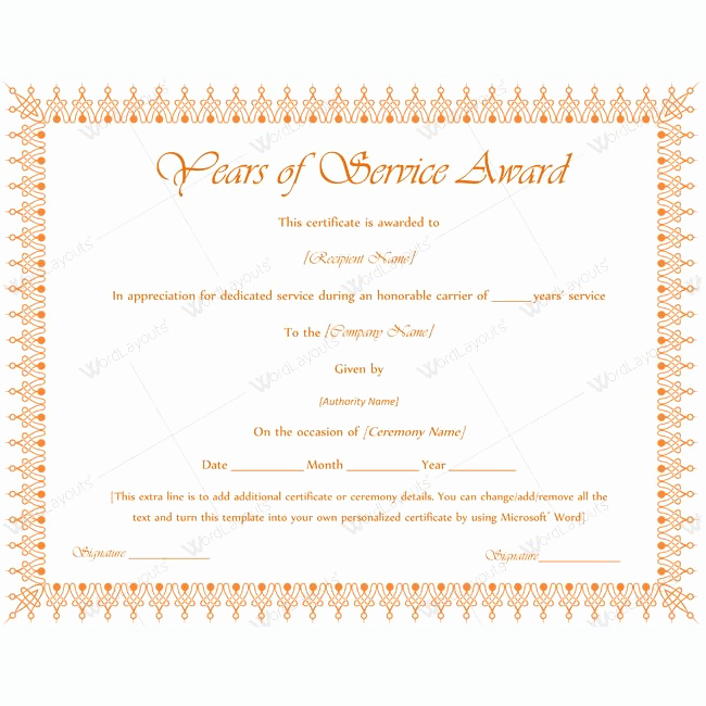 Service Awards Certificates Template Lovely Years Of Service Award 11