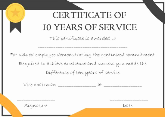 Service Awards Certificates Template Luxury 10 Years Service Award Certificate 10 Templates to Honor