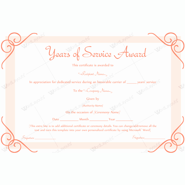 Service Awards Certificates Template Luxury Years Service Award Templates Award Awardcertificate