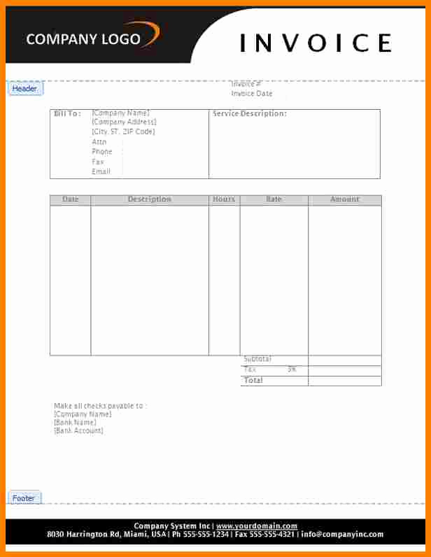 Services Rendered Invoice Template Luxury 6 Bill for Services Rendered form