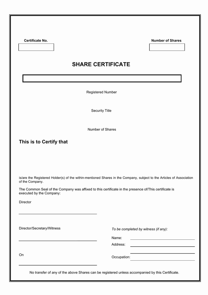 Share Certificate Template Free Download Elegant 21 Stock Certificate Template Free Download