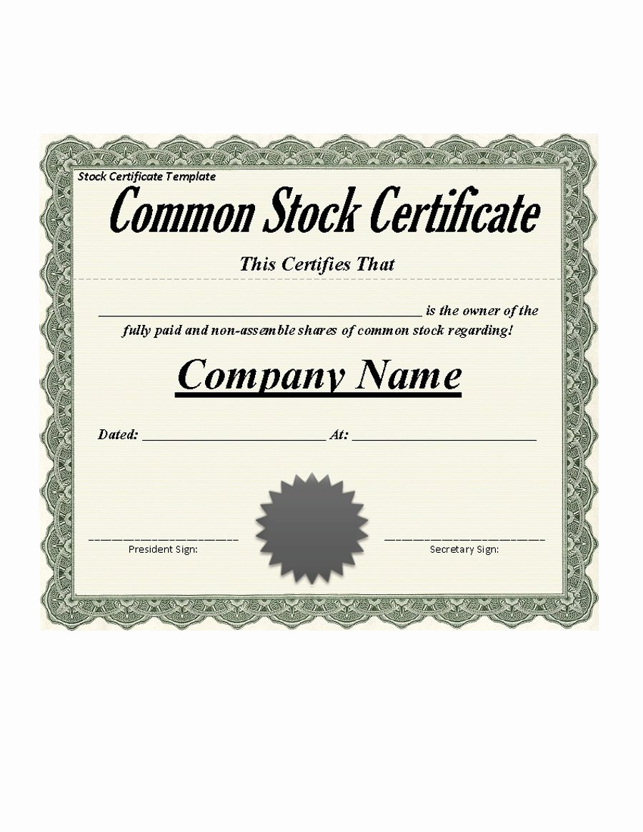 Share Certificate Template Free Download Elegant 41 Free Stock Certificate Templates Word Pdf Free