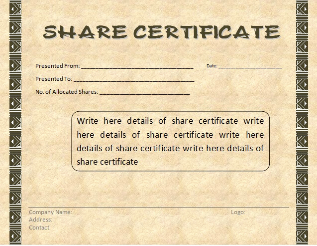 Share Certificate Template Free Download Fresh Certificate Templates