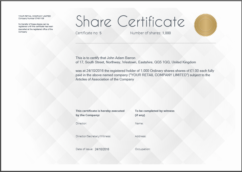 Share Certificate Template Free Download New Certificate Template Uk