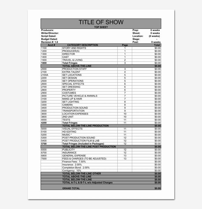 Short Film Budget Template Elegant Bud Template 10 for Excel Sheet & Pdf format