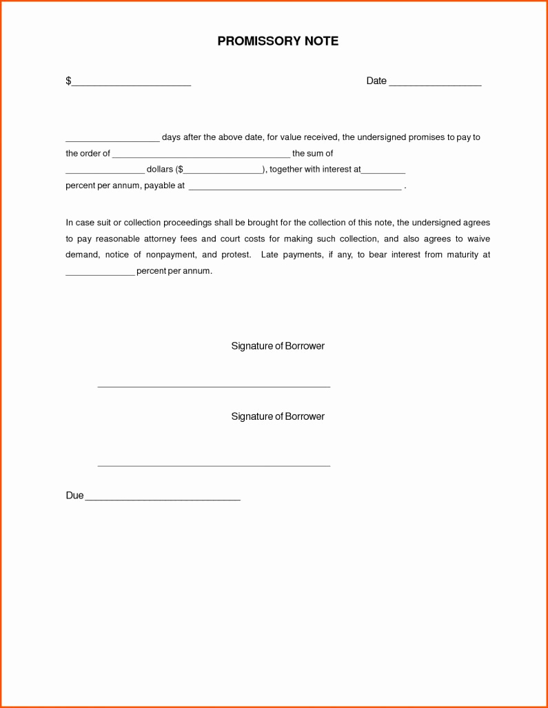 Simple Promissory Note Template Lovely Simple Promissory Note