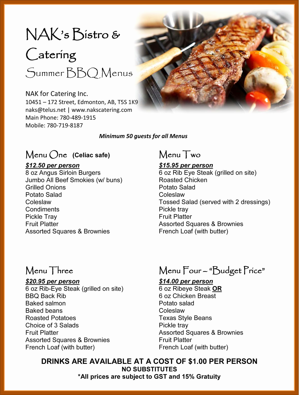 Soul Food Menu Template Beautiful Barbecue Rehearsal Dinner Summer Bbq Catering Menu Great