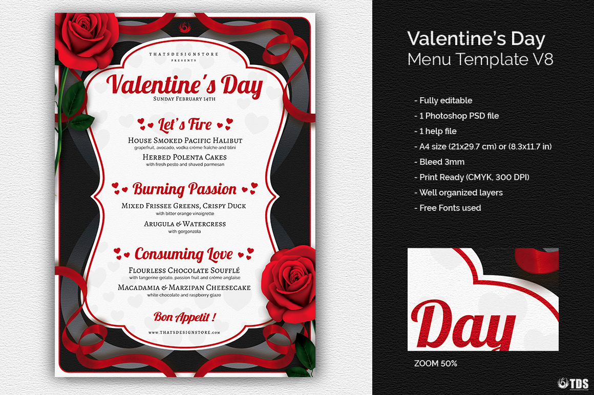 Soul Food Menu Template Beautiful Valentine S Day Menu Template Psd Design for Photoshop