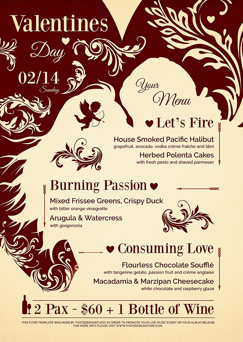Soul Food Menu Template Beautiful Valentine S Day Menu Template V6