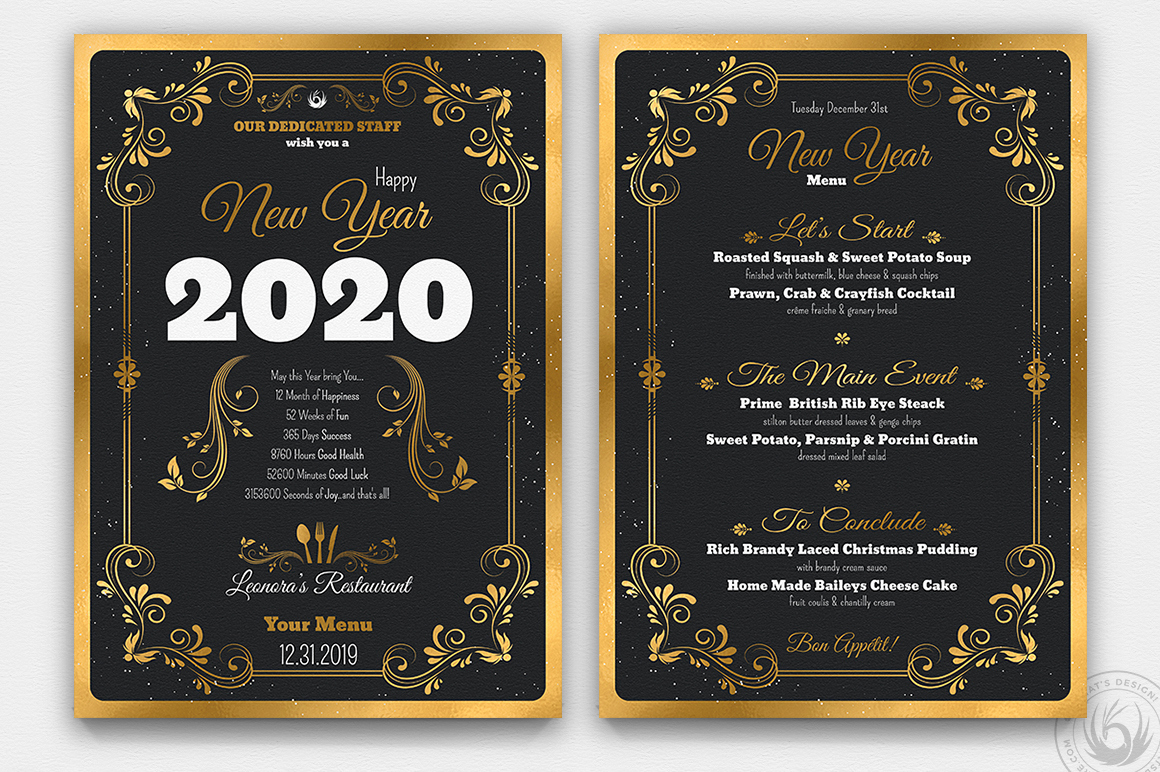 Soul Food Menu Template Elegant New Year Menu Template Psd to Customize with Photoshop