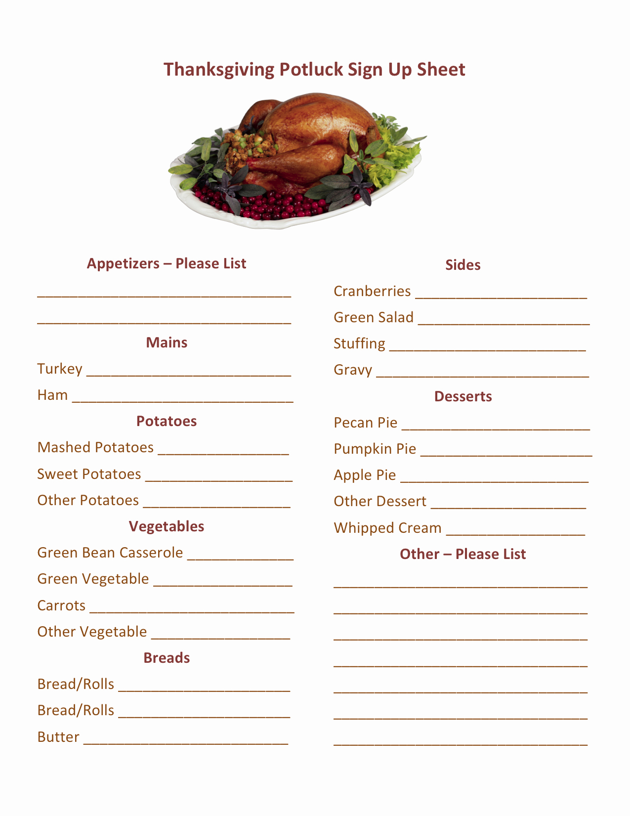 Soul Food Menu Template Luxury Thanksgiving Potluck Sign Up Printable