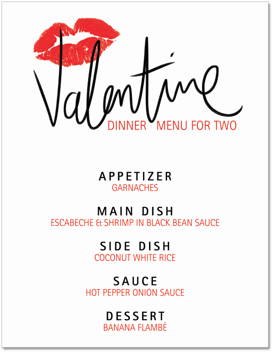 Soul Food Menu Template New A Valentine's Day Dinner Menu to Heat Up Your Body Heart