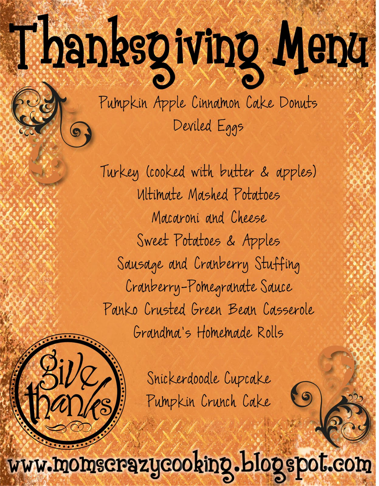 Soul Food Menu Template Unique Moms Crazy Cooking Thanksgiving Turkey Treats & My
