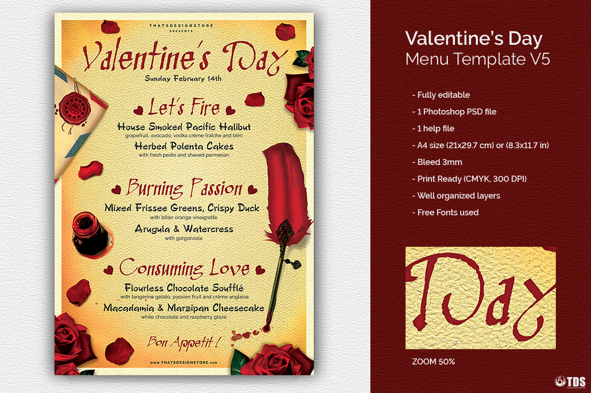 Soul Food Menu Template Unique Valentine S Day Menu Template V5