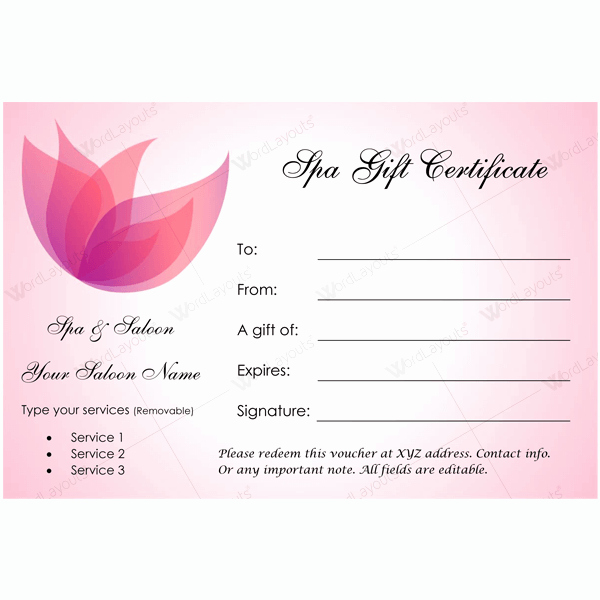 Spa Gift Certificate Template Free Beautiful 50 Spa Gift Certificate Designs to Try This Season