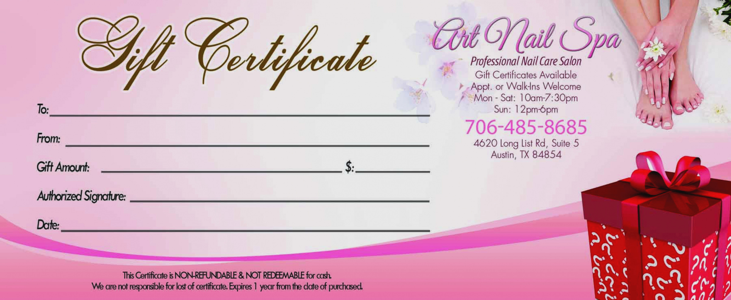 Spa Gift Certificate Template Free Beautiful Gift Certificate Template Nails