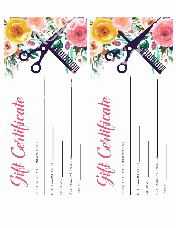 Spa Gift Certificate Template Free Beautiful Hair Salon Watercolor Floral Printable Gift Certificate