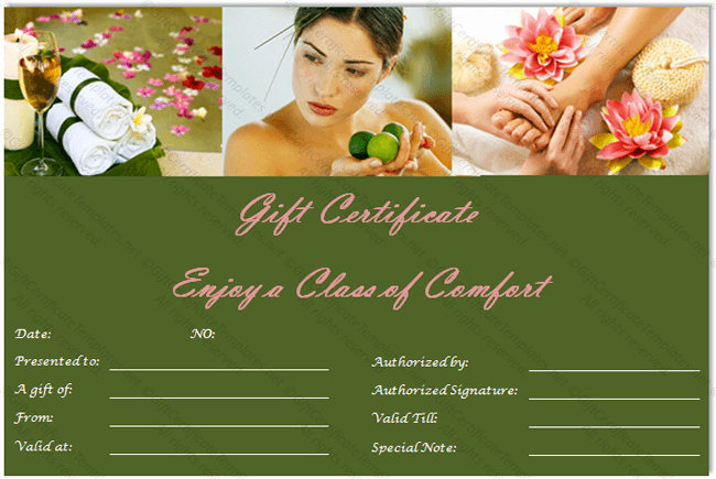 Spa Gift Certificate Template Free Lovely Gift Voucher Templates Gift Certificate Templates