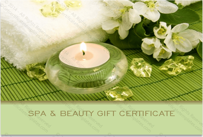 Spa Gift Certificate Template Free Lovely Two Sided Spa Gift Certificate Template