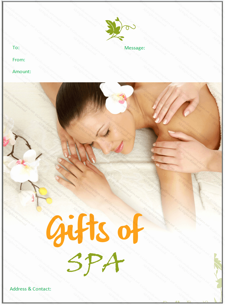 Spa Gift Certificate Template Free New Beautiful Spa T Certificate Template