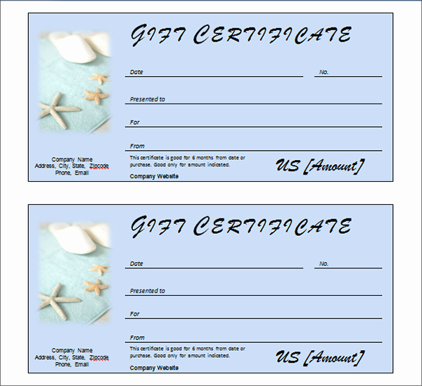 Spa Gift Certificate Template Free New Printable Gift Certificate Templates