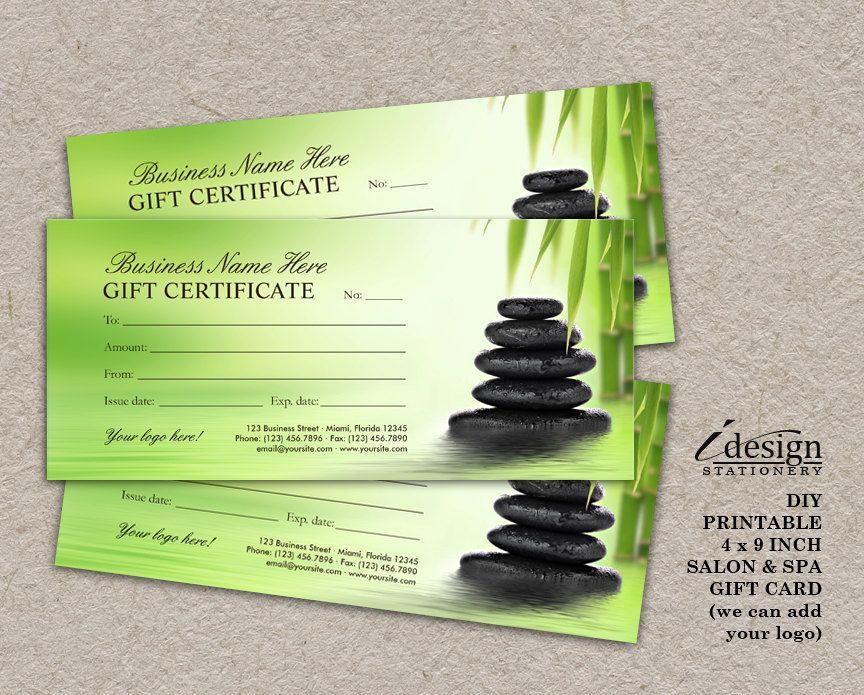 Spa Gift Certificate Template Free Unique Salon Gift Certificate Printable Spa Gift Card
