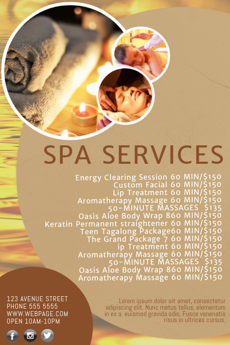 Spa Menu Template Free Awesome Spa Salon Price List Template
