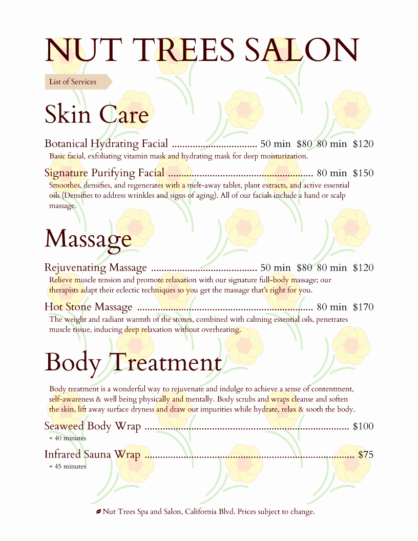 Spa Menu Template Free Fresh Spa Menu Templates and Designs From Imenupro